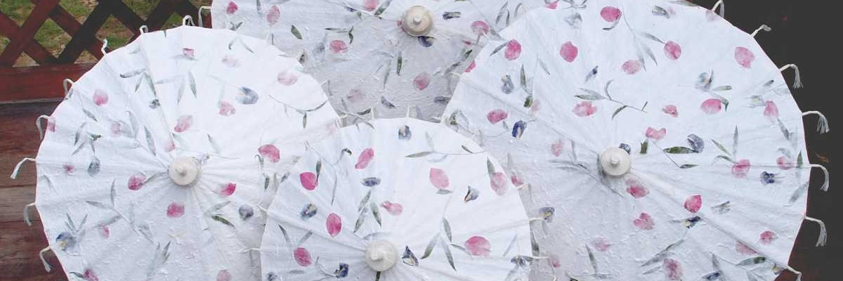 Paper Umbrellas - Pressed Flowers Wedding Umbrellas