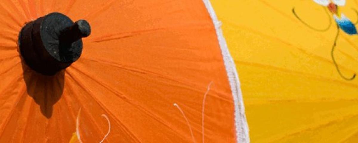Artificial Silk, Fabric Umbrellas - Orange & Yellow
