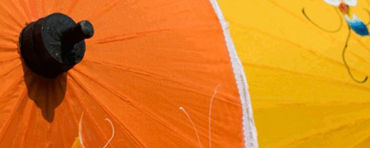 Artificial Silk, Fabric Umbrellas - Orange & Yellow