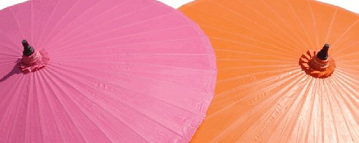 Chiang Mai Classic™ Garden and Patio Umbrellas - Twin Umbrellas in Pink and Orange