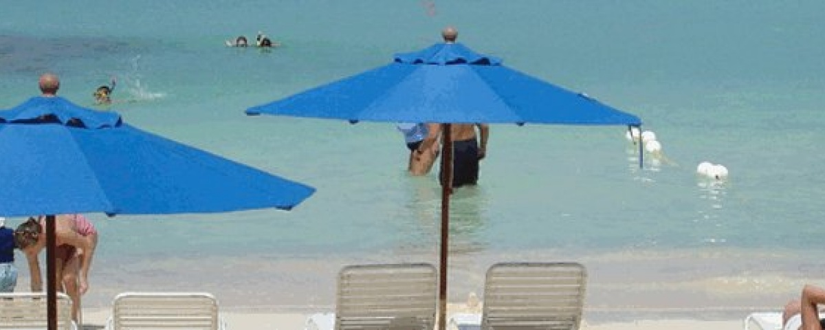 Heavy Duty Market Umbrellas at the beach - Blue