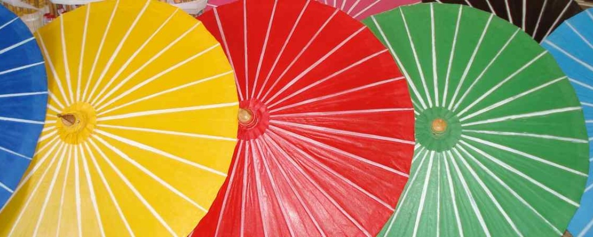 Chiang Mai Classic Umbrellas - Thai Oiled Umbrellas - Stripes