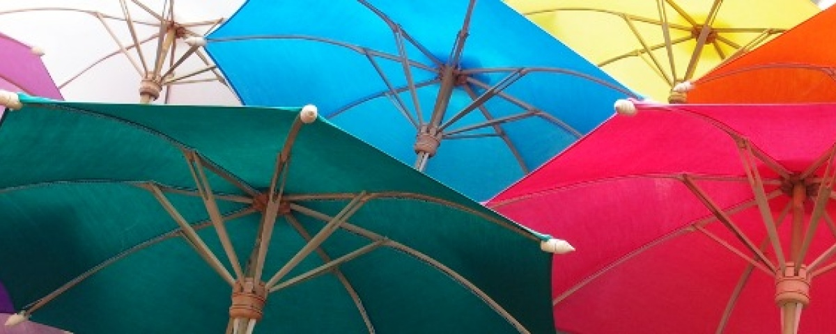 Cotton Umbrellas - Colorful open row