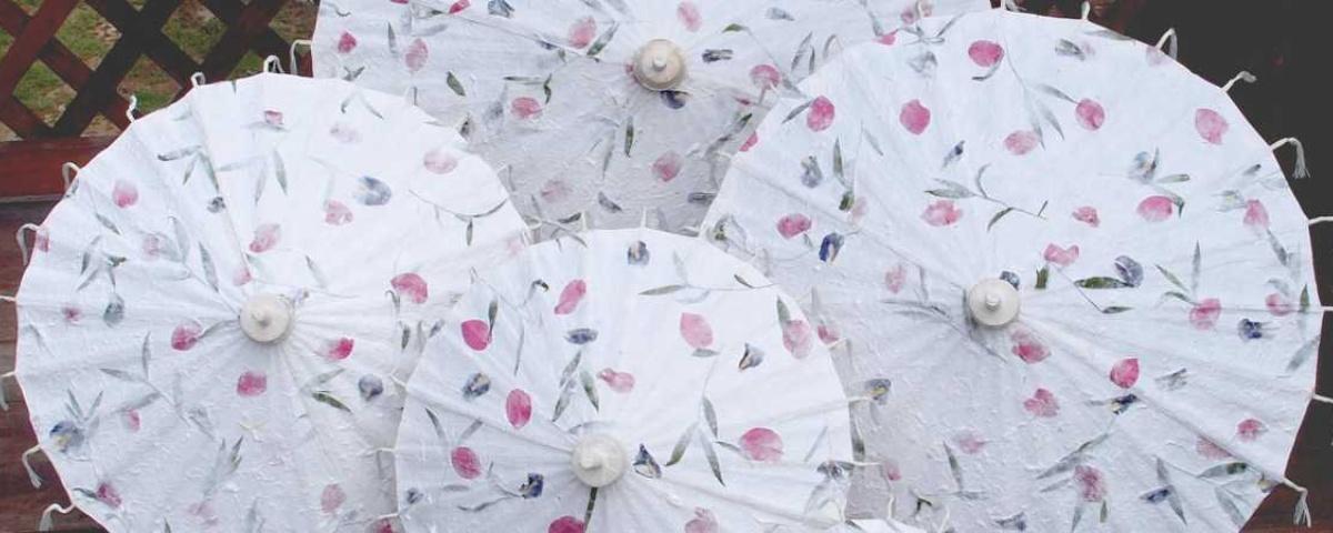 Paper Umbrellas - Pressed Flowers Wedding Umbrellas
