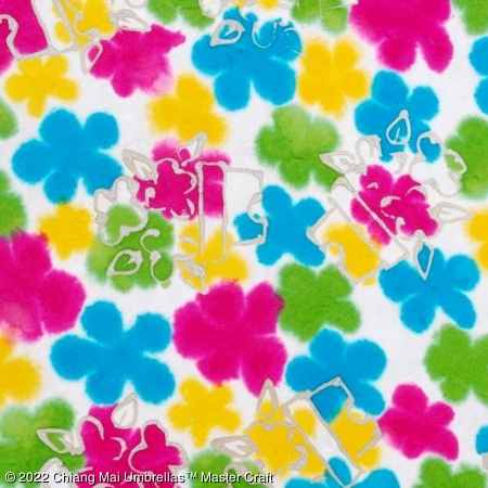 Color sample - Varicolored flowers on white - Batik Paper Umbrella