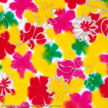 Color sample - Yellow and Pink Batik Paper Umbrella