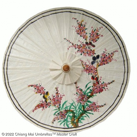 Classic Umbrella - Butterflies Oriental Tree and Blossoms on White