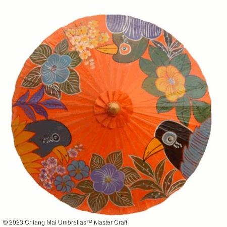 Classic Umbrella - Happy Birds on Orange
