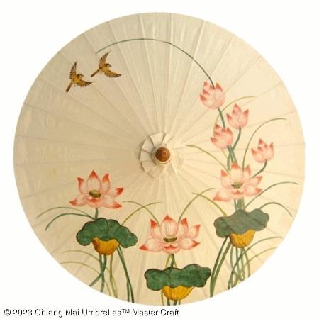 Classic Umbrella - Lotus Birds on Off White