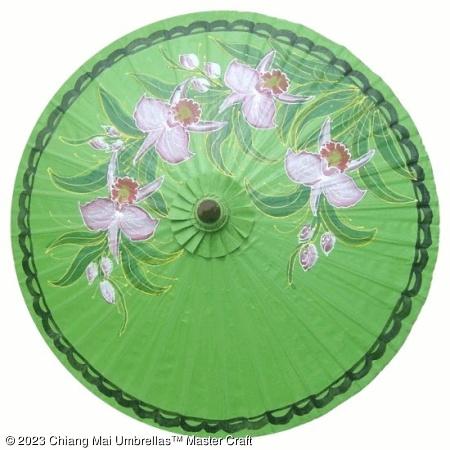 Classic Umbrella - Orchids on Green