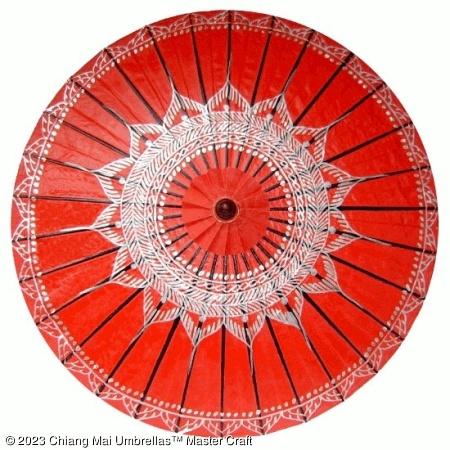 Classic Umbrella - Silver Lotus on Red