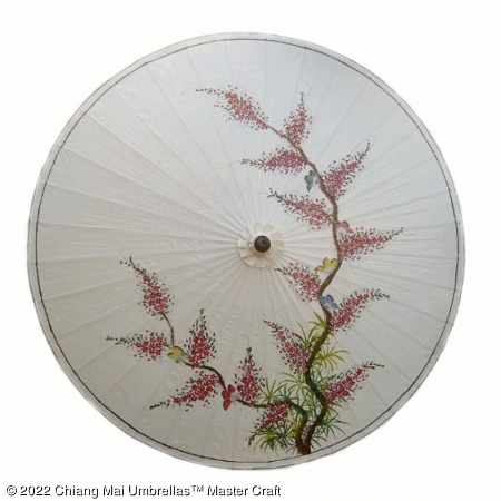 Garden Umbrella - Butterflies Oriental Tree and Blossoms on Off White