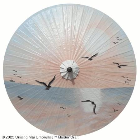 Garden Umbrella - Flying in Sunrise on Off White