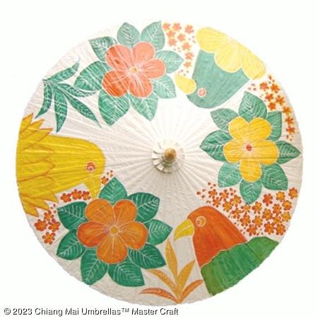 Garden Umbrella - Modern Birds on Off White
