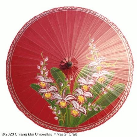 Garden Umbrella - Orchid on Dark Red