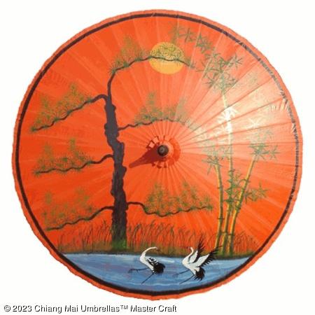 Garden Umbrella - Trees Lake Storks on Orange
