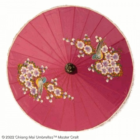 Artificial Silk Umbrella - Birds and Flowers on Pink