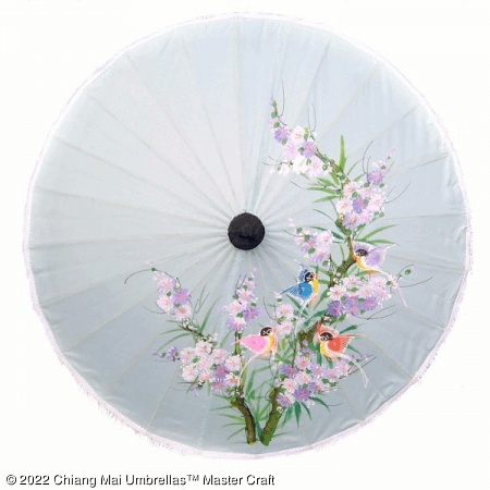 Artificial Silk Umbrella - Birds Oriental Tree and Blossoms on Light Grey
