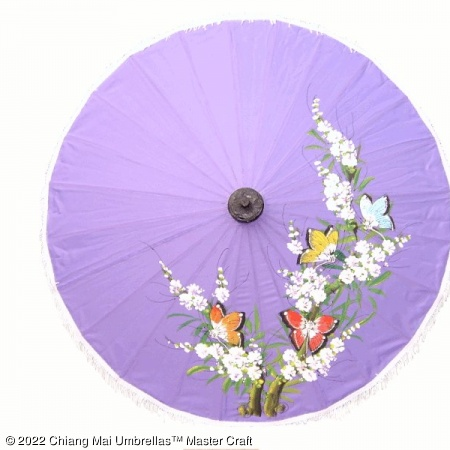 Artificial Silk Umbrella - Butterflies Oriental Tree and Blossoms on Light Violet