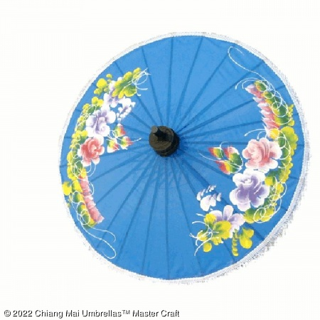 Artificial Silk Umbrella - Flowers 02 on Blue