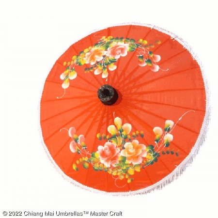 Artificial Silk Umbrella - Flowers 03 on Orange