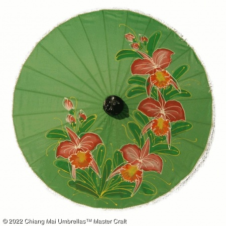 Artificial Silk Umbrella - Oriental Red Blossoms on Green