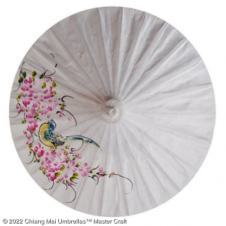 Paper Umbrella - Hand painted bird and flowers on a white background