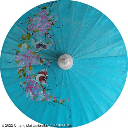 Paper Umbrella - Hand painted birds and flowers on a skyblue background
