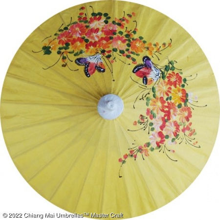 Paper Umbrella - Hand painted butterflies and flowers on a yellow background