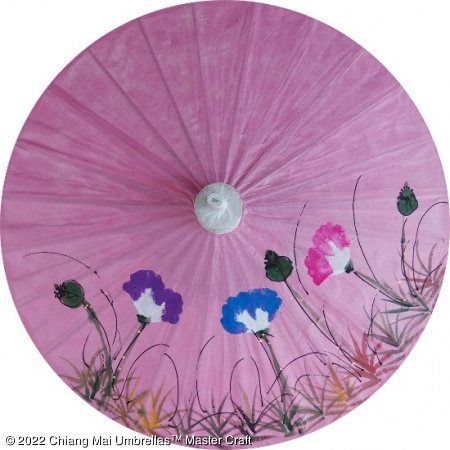 Paper Umbrella - Hand painted grass and flowers on a pink background