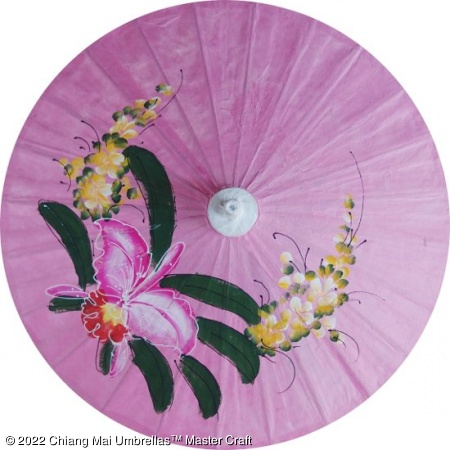 Paper Umbrella - Hand painted orchid on a pink background