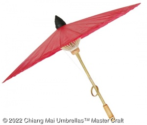 Chiang Mai Classic Umbrella - Red - Side view