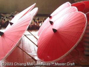 Image - Fabric Umbrellas in Solid Red - Wholesale Fabric Umbrellas
