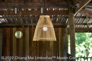 Bamboo ceiling suspension lamp in our sala house