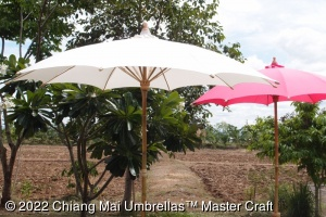 Fabric Umbrellas 250 cm diameter off-white and pink