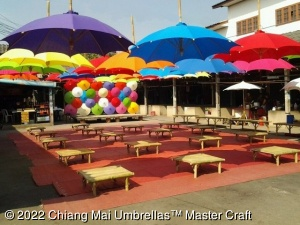 Canvas Patio Umbrellas use as ceiling decoration, up side down.