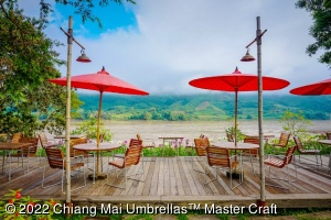 Patio Chiang Mai Umbrellas, 250 cm diameter, red vermilion in the terrece