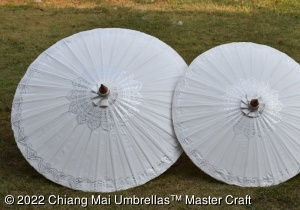 Classic Chiang Mai Umbrellas - Hand painted Silver Lotus on off-white
