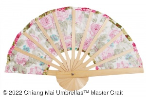 Image - Fabric Hand Fans - Wholesale - rear view