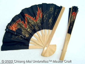 Image - Fabric Hand Fans - Red Dragon on Black - custom design