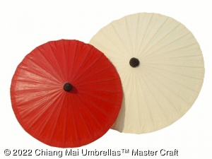 Red and White Chiang Mai Classic Umbrellas - front view