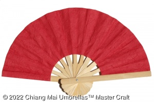 Red paper hand fan with a natural frame