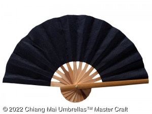 Mulberry paper fan with natural bamboo frame - Black color