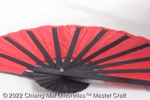Image - Paper hand fan with a black frame - rear view
