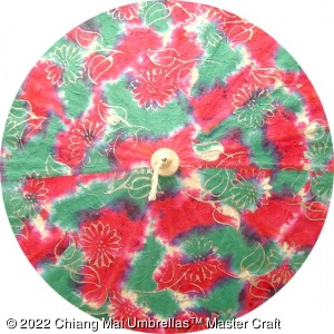 Thai paper umbrella in Batik design - Green and red with trees