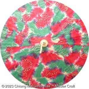 Paper Umbrella in Batik - Green, red with tree
