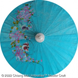Thai paper umbrellas with hand painted design - workshop direct wholesale