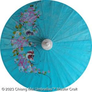 Thai paper umbrellas with hand painted design - workshop direct wholesale