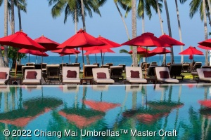 Image - Market Umbrellas in Red at Hotel Pool