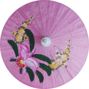 Paper Umbrellas - Hand Painted Orchid on Pink